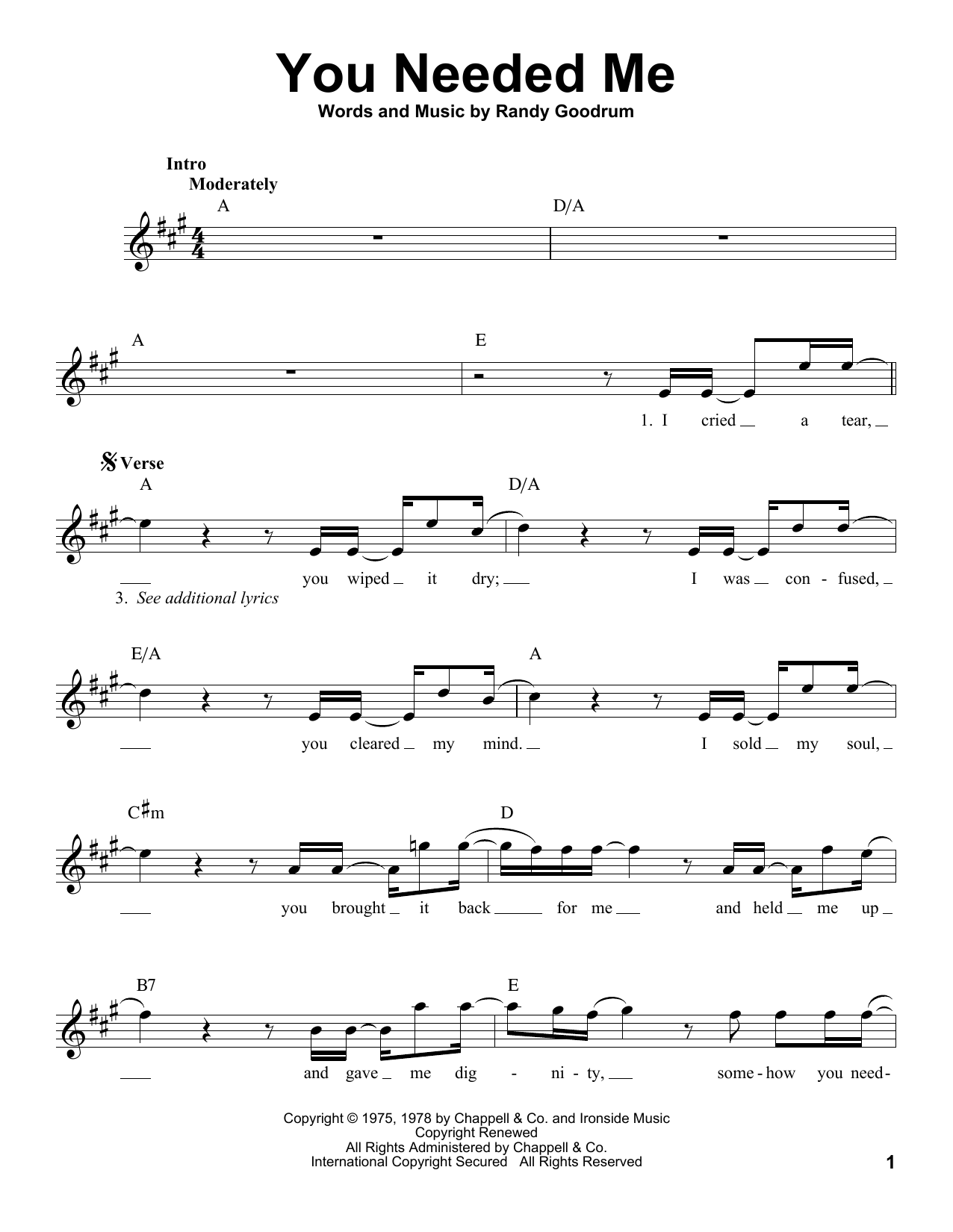 You Needed Me Sheet Music Notes Anne Murray Chords Download