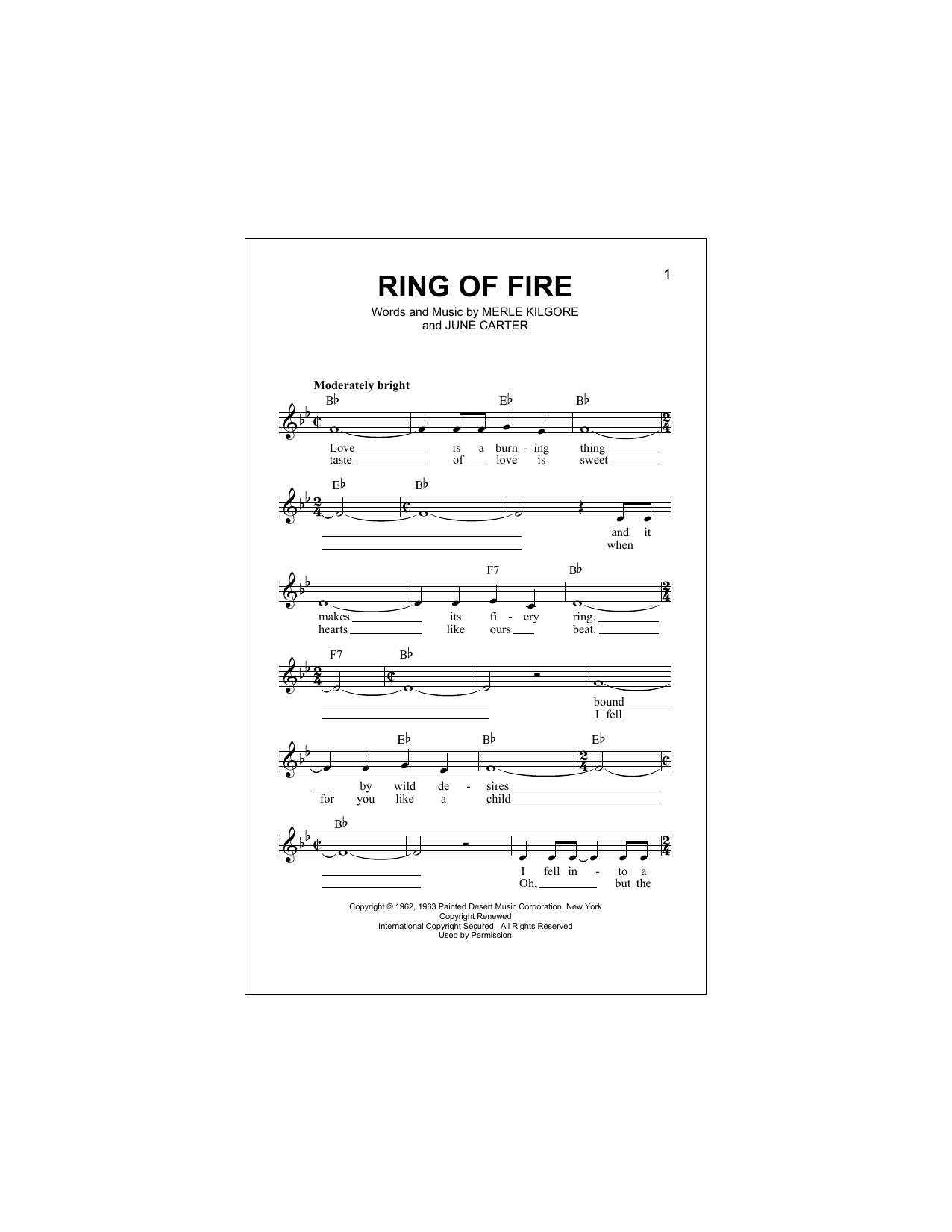 Johnny Cash Ring Of Fire Sheet Music Notes Chords Download Printable Melody Line Lyrics Chords Sku 194807
