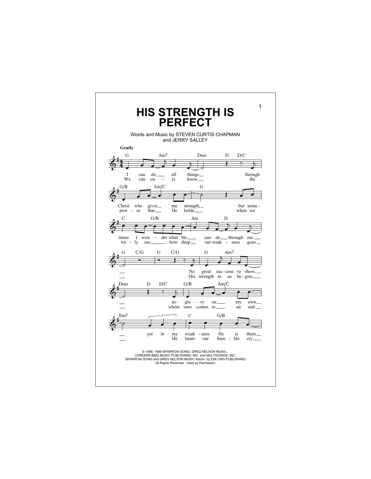 Steven Curtis Chapman 'His Strength Is Perfect' Sheet Music Notes, Chords |  Download Printable Melody Line, Lyrics & Chords - SKU: 195054
