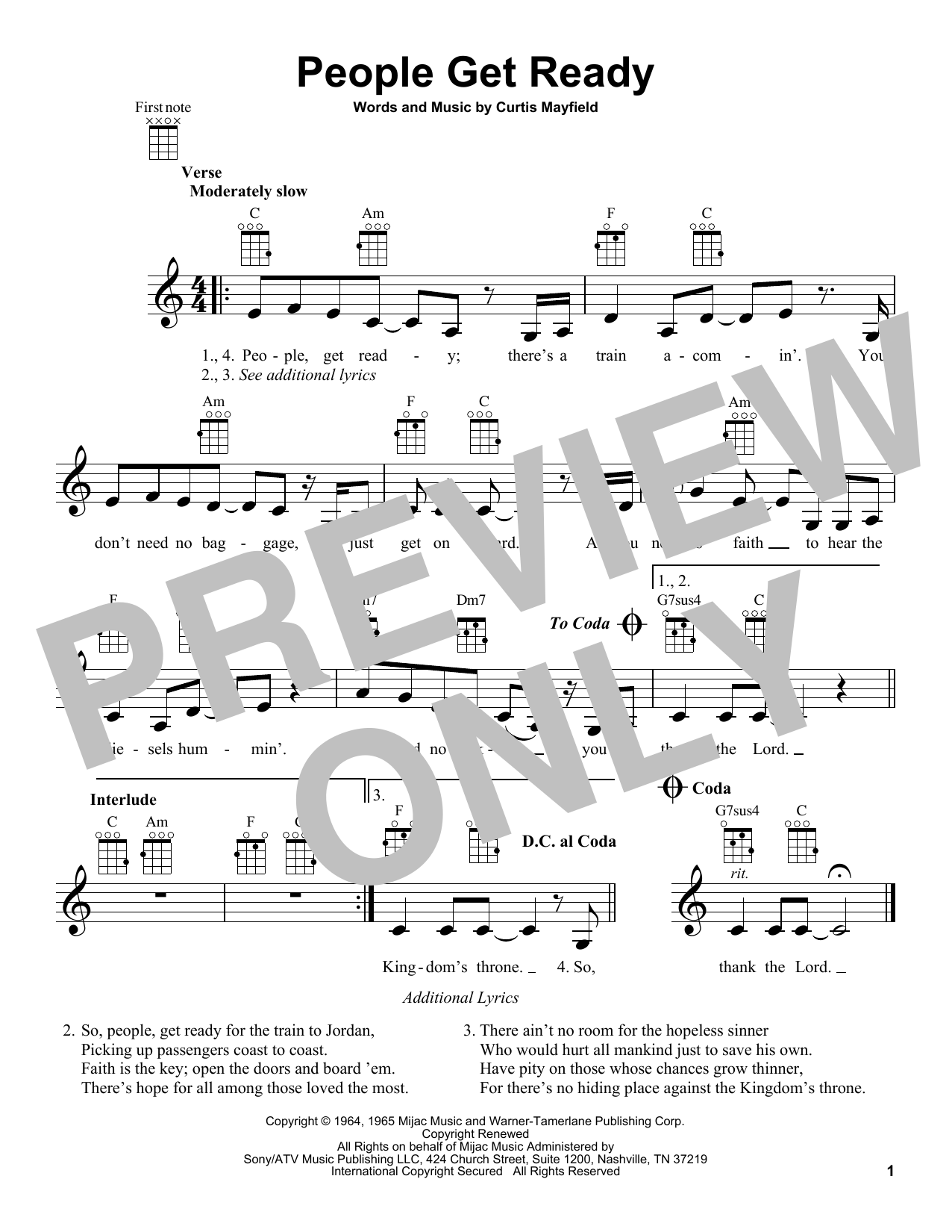 Curtis Mayfield 'People Get Ready' Sheet Music Notes, Chords | Download  Printable Ukulele - SKU: 195316