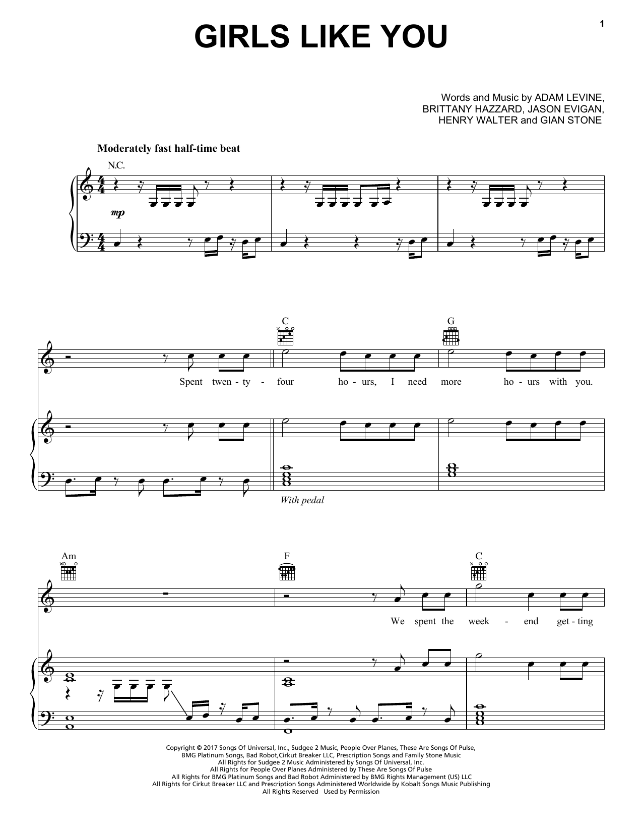 Girls Like You Sheet Music Notes Maroon 5 Chords Download Pop