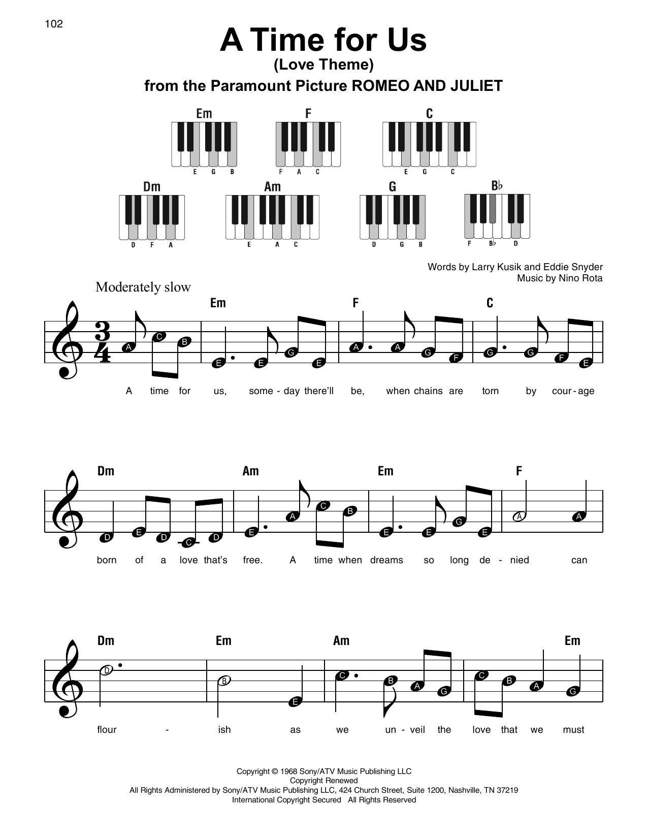 Nino Rota 'A Time For Us (Love Theme)' Sheet Music Notes, Chords   Download  Printable Super Easy Piano - SKU: 197208