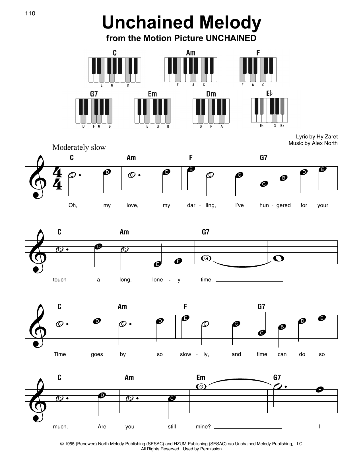 The Righteous Brothers 'Unchained Melody' Sheet Music Notes, Chords |  Download Printable Super Easy Piano - SKU: 197266