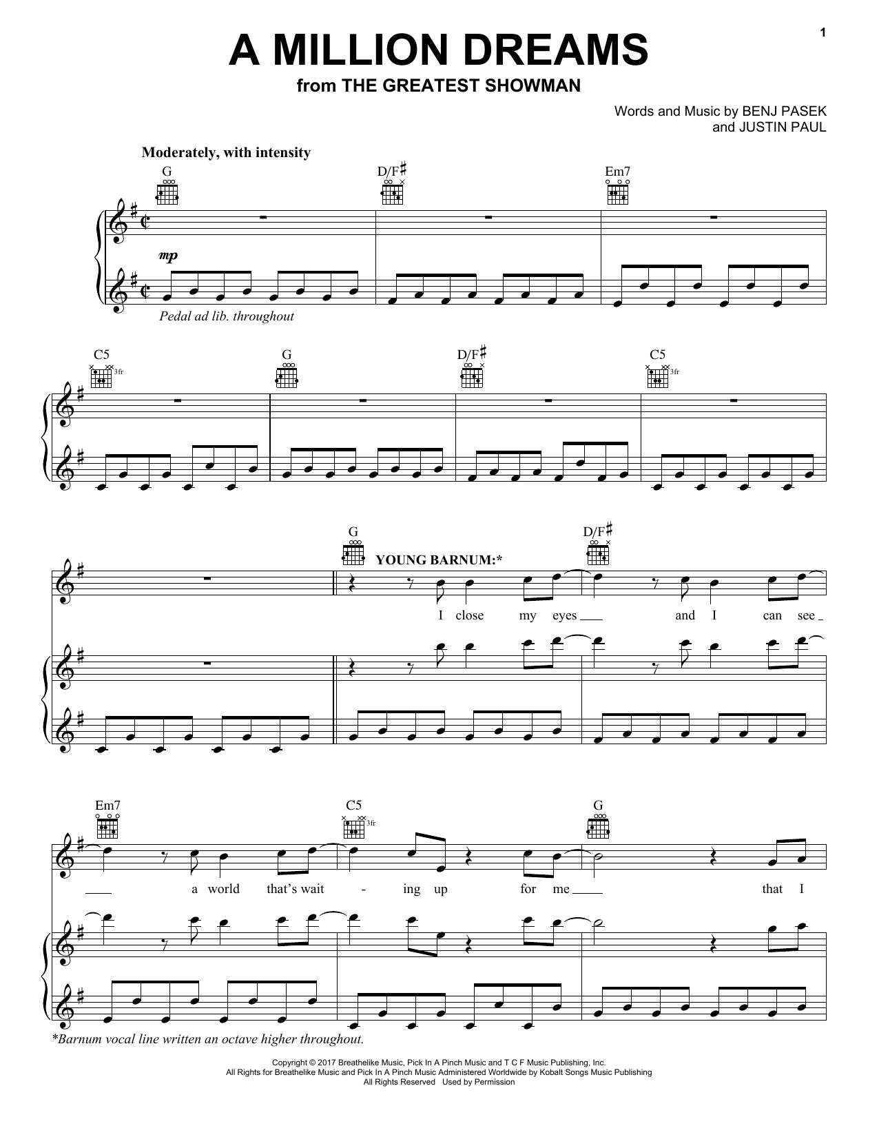 Pasek Paul A Million Dreams From The Greatest Showman Sheet Music Notes Chords Download Printable Piano Vocal Guitar Right Hand Melody