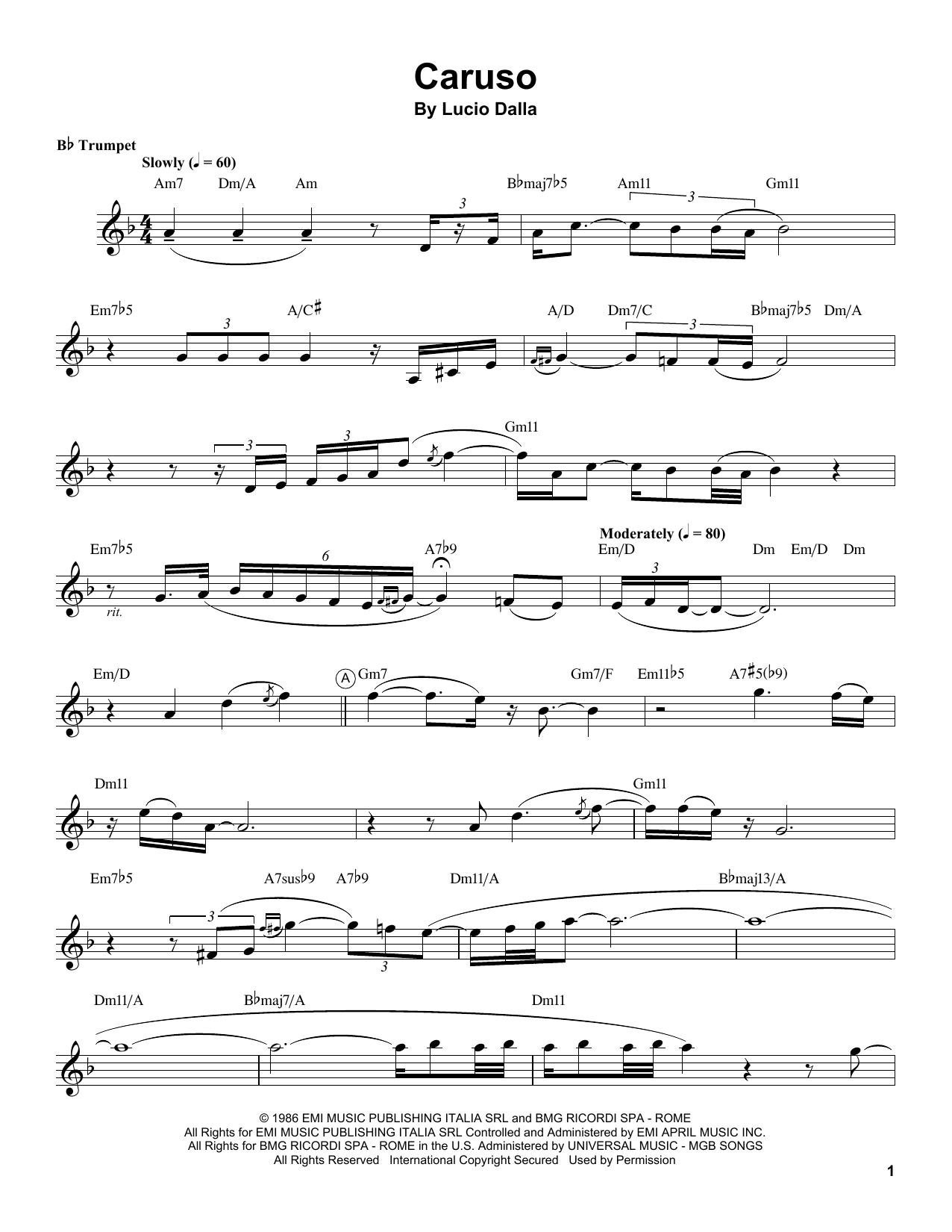 Chris Botti 'Caruso' Sheet Music Notes, Chords | Download Printable Trumpet  Transcription - SKU: 199027