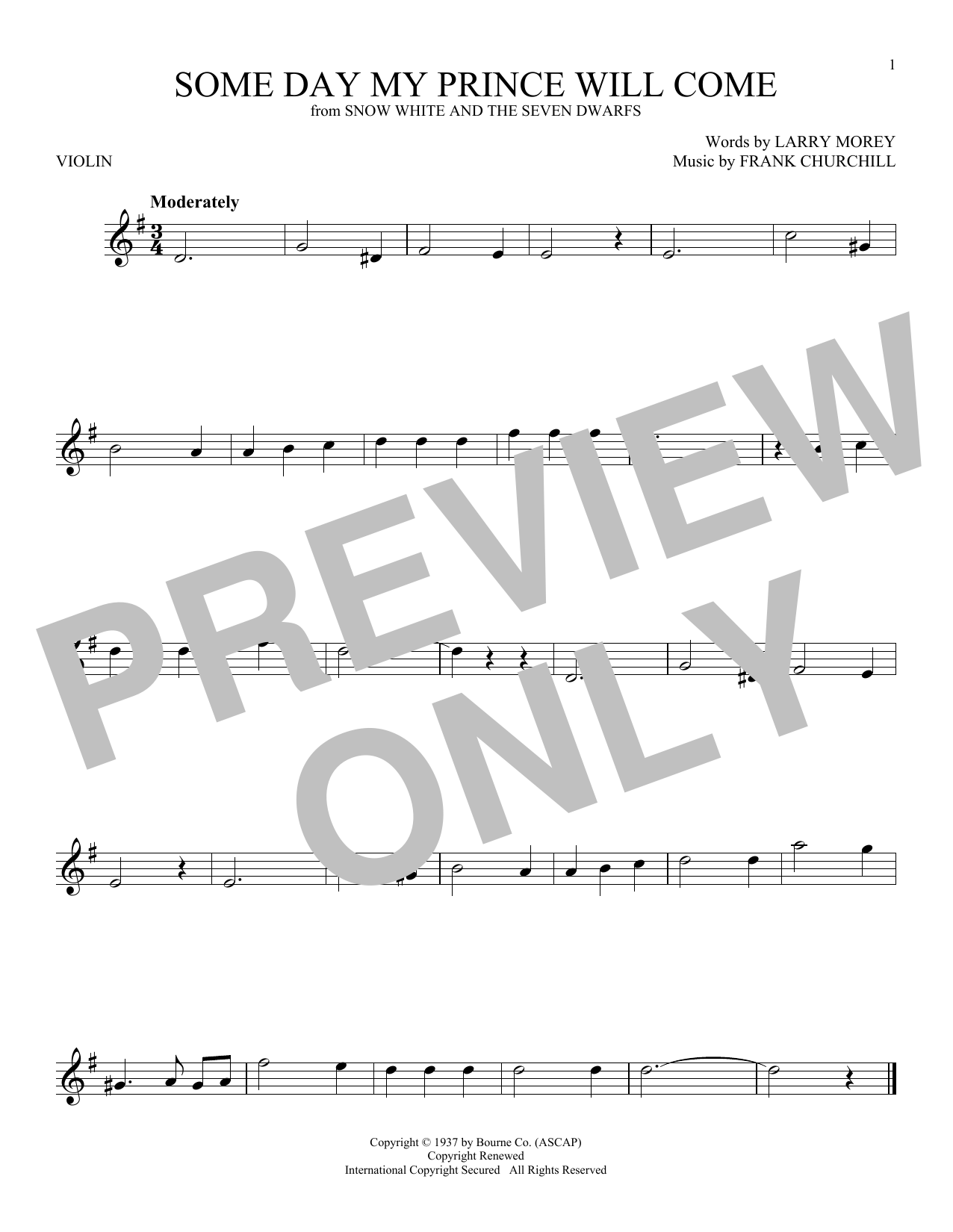 Frank Churchill 'Some Day My Prince Will Come' Sheet Music Notes, Chords |  Download Printable Violin - SKU: 199740