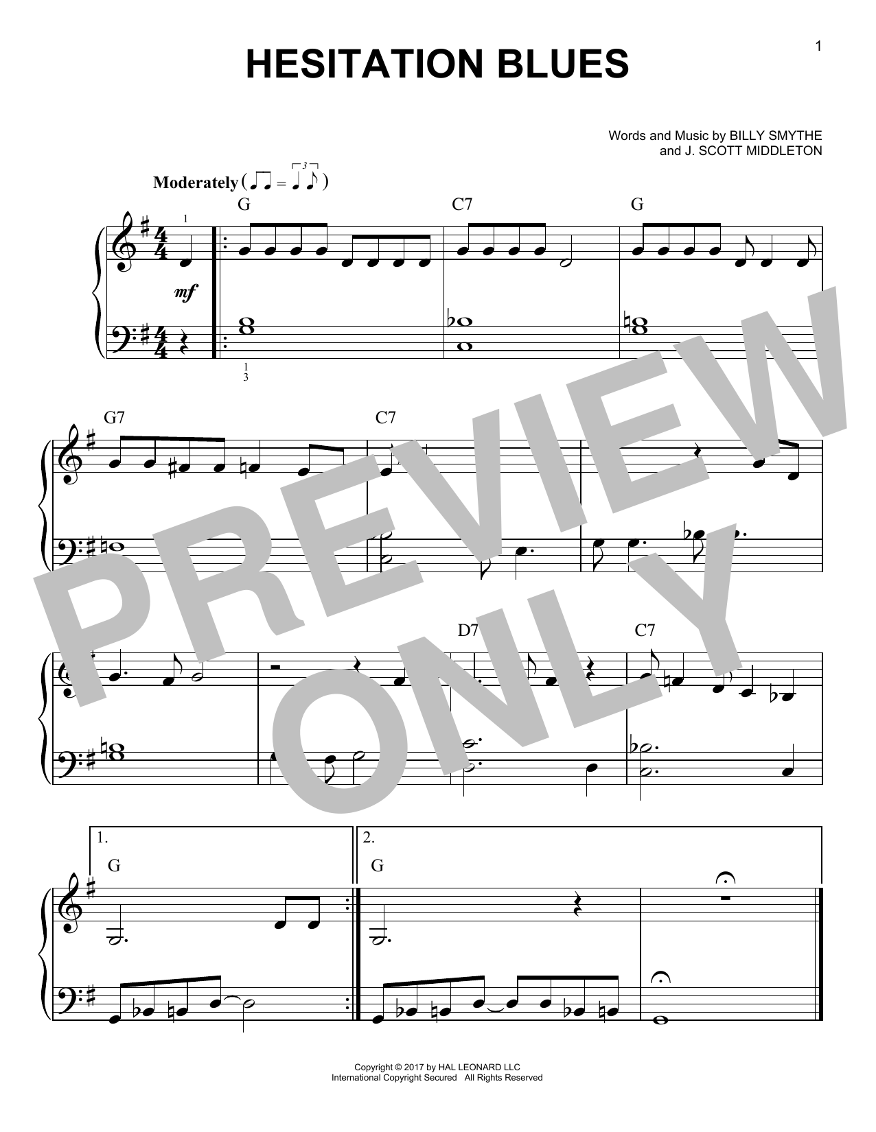 Billy Smythe 'Hesitation Blues' Sheet Music Notes, Chords | Download  Printable Very Easy Piano - SKU: 250854