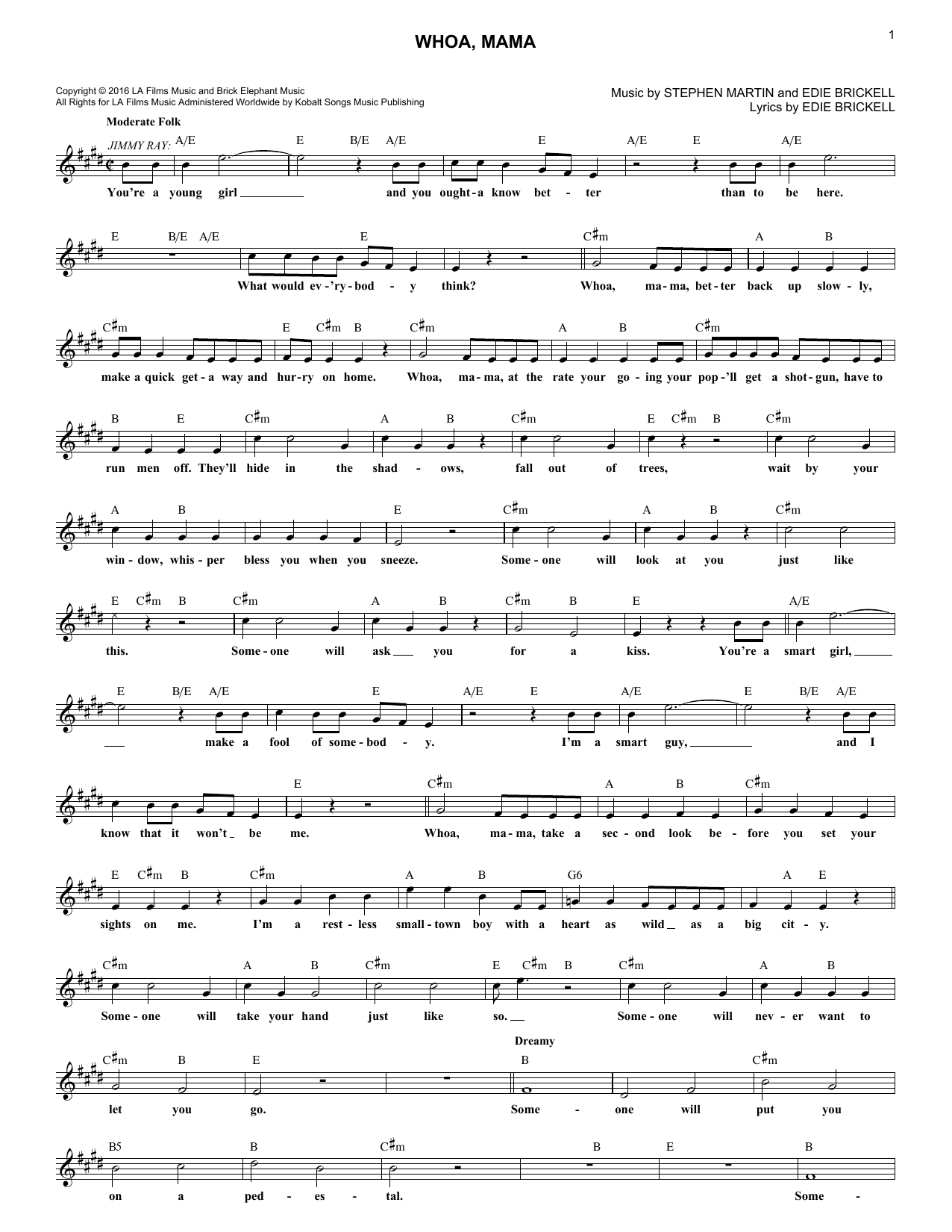 Edie Brickell 'Whoa, Mama' Sheet Music Notes, Chords | Download Printable  Melody Line, Lyrics & Chords - SKU: 251867
