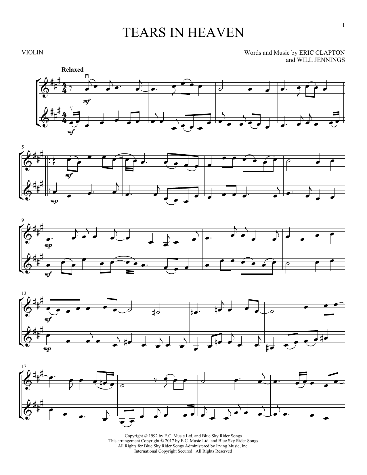 Eric Clapton 'Tears In Heaven' Sheet Music Notes, Chords | Download  Printable VLNDT - SKU: 253145