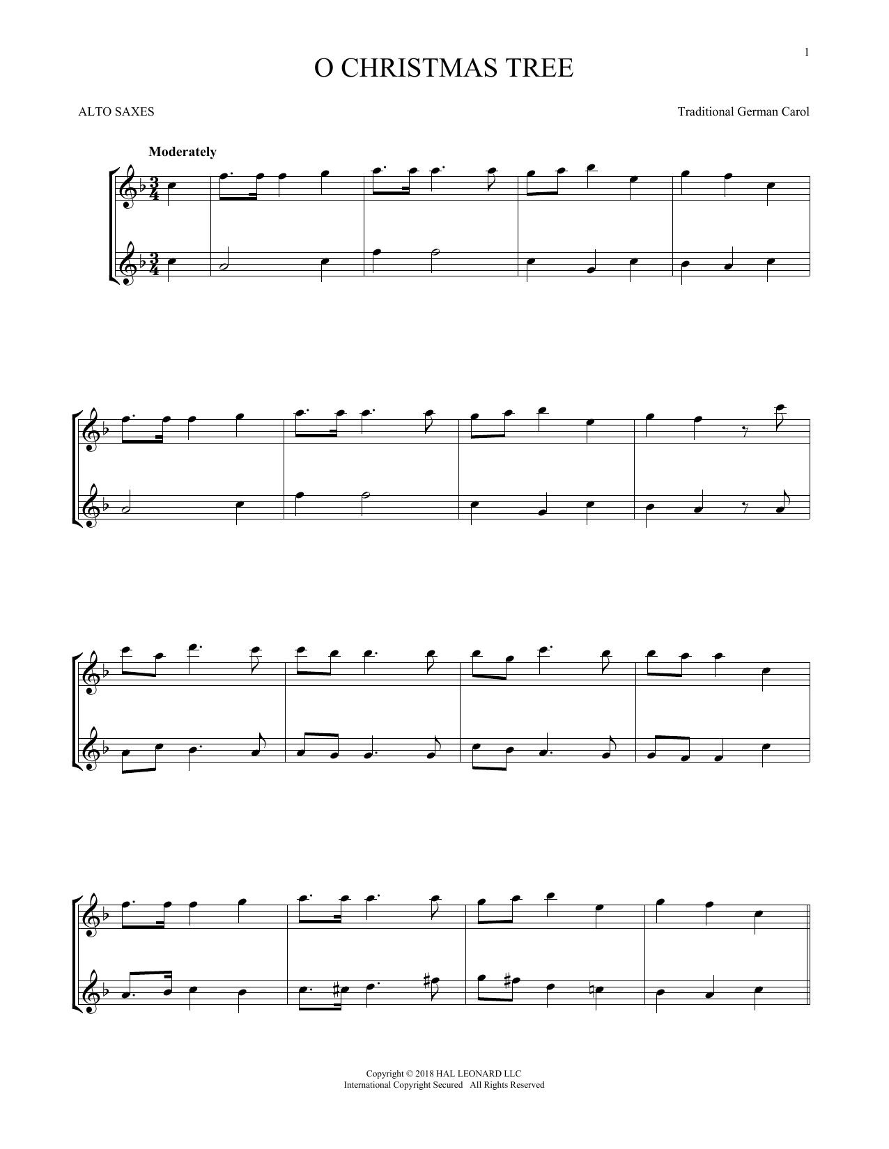 O Christmas Tree In German.Traditional German Carol O Christmas Tree Sheet Music Notes Chords Download Printable Alto Saxophone Duet Sku 255159