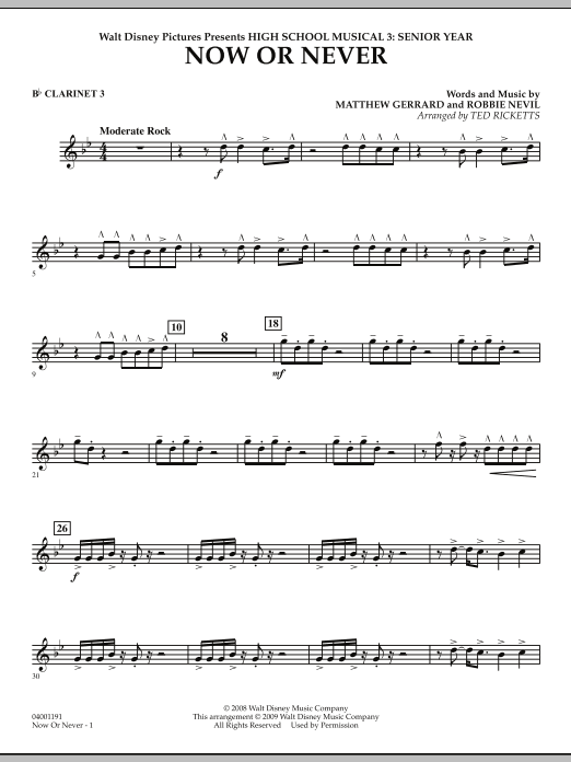 Ted Ricketts 'Now or Never (from High School Musical 3) - Bb Clarinet 3'  Sheet Music Notes, Chords | Download Printable Concert Band - SKU: 271777