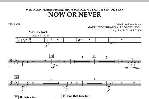 Ted Ricketts 'Now or Never (from High School Musical 3) - Timpani' Sheet  Music Notes, Chords | Download Printable Concert Band - SKU: 271798