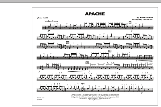 Tim Waters 'Apache - Quad Toms' Sheet Music Notes, Chords | Download  Printable Marching Band - SKU: 281991