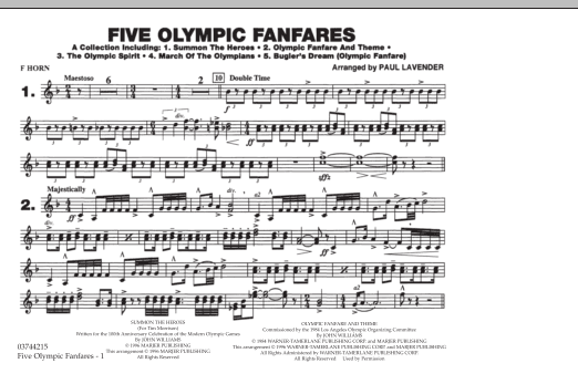 Paul Lavender 'Five Olympic Fanfares - F Horn' Sheet Music Notes, Chords |  Download Printable Marching Band - SKU: 284792