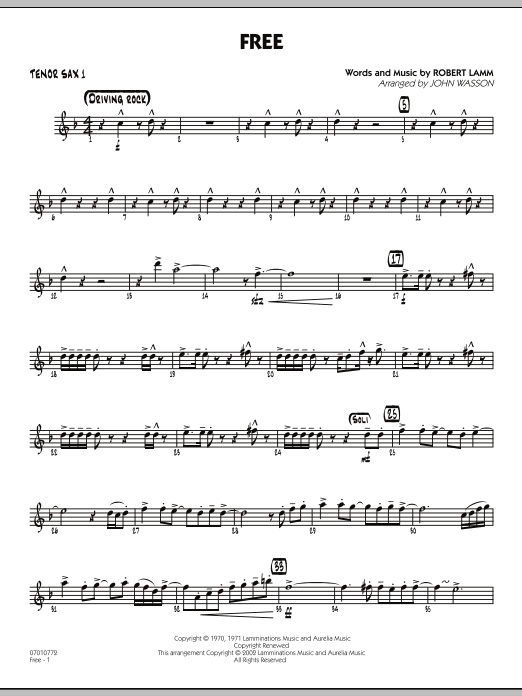 John Wasson 'Free - Tenor Sax 1' Sheet Music Notes, Chords | Download  Printable Jazz Ensemble - SKU: 285363