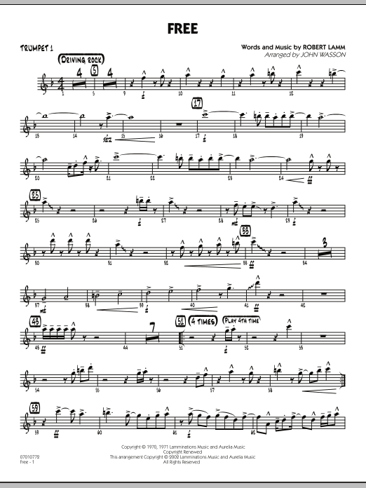 picture relating to Free Printable Sheet Music for Trumpet identified as John Gained Absolutely free - Trumpet 1 Sheet Audio Notes, Chords Obtain Printable Jazz Ensemble - SKU: 285366