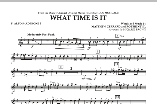 Michael Brown 'What Time Is It (from High School Musical 2) - Eb Alto  Saxophone 2' Sheet Music Notes, Chords | Download Printable Concert Band -  SKU: