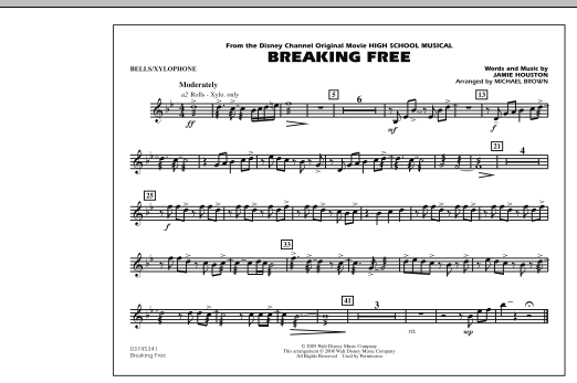 Michael Brown 'Breaking Free (from High School Musical) - Bells/Xylophone'  Sheet Music Notes, Chords | Download Printable Marching Band - SKU: 293993