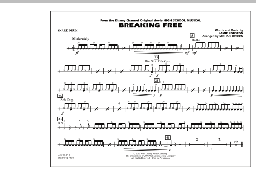 Michael Brown 'Breaking Free (from High School Musical) - Snare Drum' Sheet  Music Notes, Chords | Download Printable Marching Band - SKU: 293994