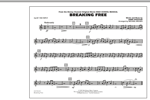 photo about Free Printable Disney Sheet Music called Michael Brown Breaking Absolutely free (towards Superior College or university Musical) - 2nd Bb Trumpet Sheet Audio Notes, Chords Obtain Printable Marching Band - SKU: 294003