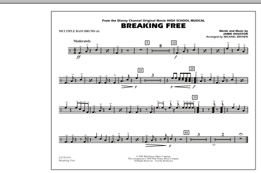 picture relating to Free Printable Drum Sheet Music titled Michael Brown Breaking Totally free (towards Large College or university Musical) - Many B Drums Sheet Songs Notes, Chords Obtain Printable Marching Band - SKU: