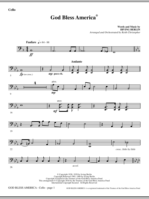 picture regarding Free Printable God Bless America Sheet Music titled Keith Christopher God Bless The us - Cello Sheet Tunes Notes, Chords  Obtain Printable Choral Instrumental Pak - SKU: 296466