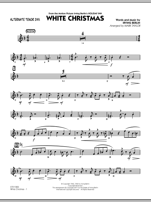 Mark Taylor 'White Christmas - Alternate Tenor Sax' Sheet Music Notes,  Chords   Download Printable Jazz Ensemble - SKU: 300751
