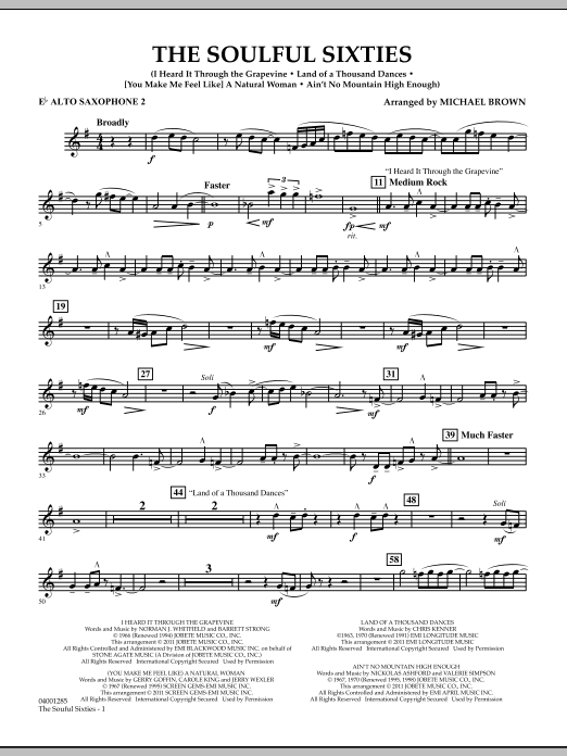 Michael Brown The Soulful Sixties Eb Alto Saxophone 2 Sheet Music Notes Chords Download Printable Concert Band Sku 301250