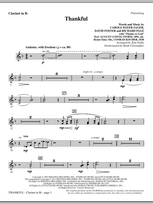 Clarinet Sheet Music Christmas.Tom Fettke Thankful Clarinet Sheet Music Notes Chords Download Printable Choir Instrumental Pak Sku 301496