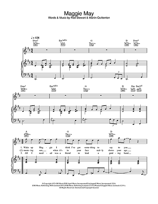 Maggie May Sheet Music Notes Rod Stewart Chords Download Pop