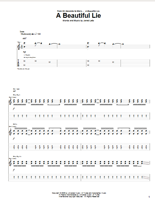 Download 30 Seconds To Mars A Beautiful Lie sheet music and printable PDF score & Rock music notes