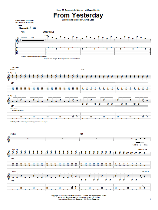 Download 30 Seconds To Mars From Yesterday sheet music and printable PDF score & Rock music notes