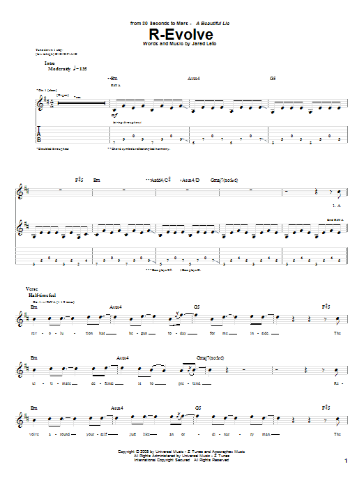 Download 30 Seconds To Mars R-Evolve sheet music and printable PDF score & Rock music notes