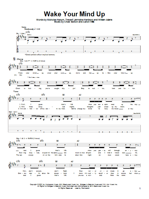 Download 311 Wake Your Mind Up sheet music and printable PDF score & Rock music notes