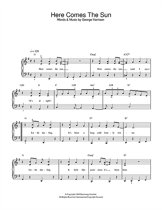 The Beatles 'Here Comes The Sun' Sheet Music Notes, Chords | Download  Printable Beginner Piano - SKU: 32201