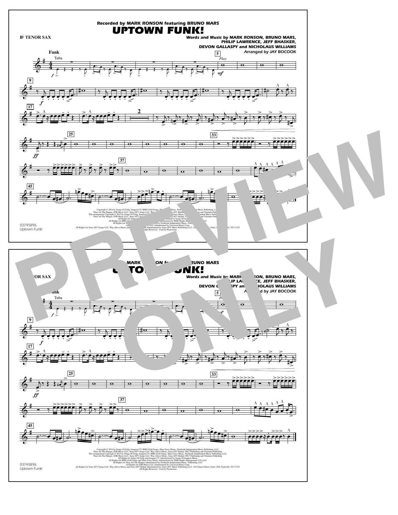 Jay Bocook 'Uptown Funk! - Bb Tenor Sax' Sheet Music Notes, Chords |  Download Printable Marching Band - SKU: 338881