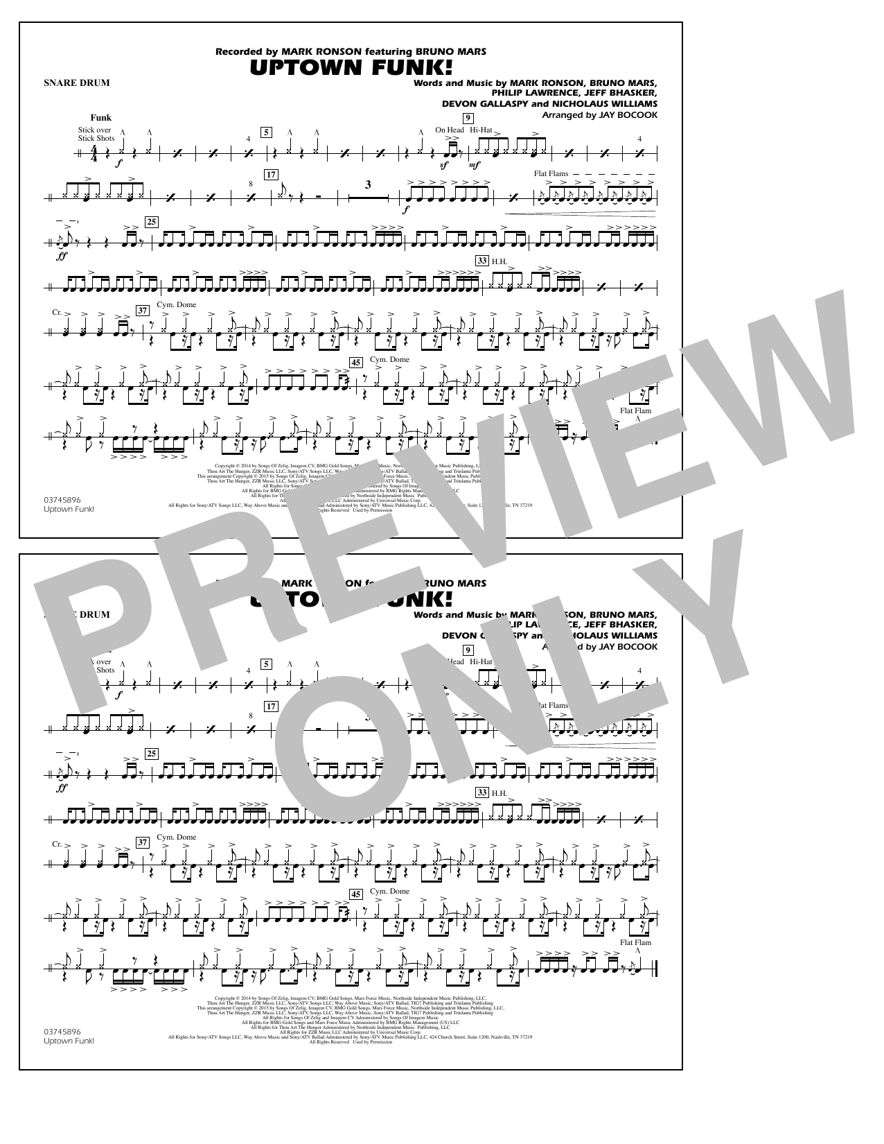 Jay Bocook 'Uptown Funk! - Snare Drum' Sheet Music Notes, Chords | Download  Printable Marching Band - SKU: 338895