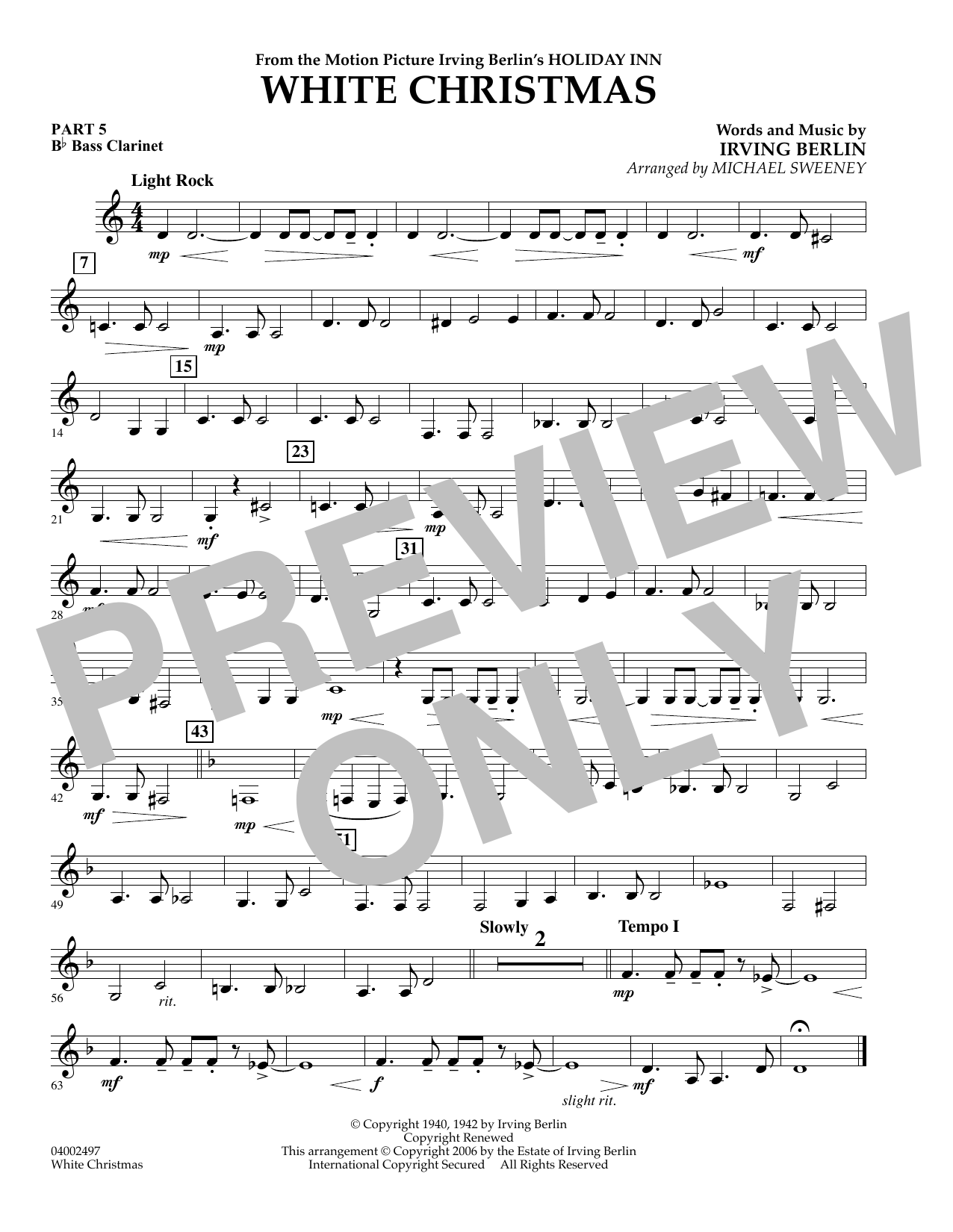 Clarinet Christmas Music.Michael Sweeney White Christmas Flex Band Pt 5 Bb Bass Clarinet Sheet Music Notes Chords Download Printable Concert Band Sku 347463