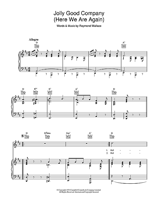 Raymond Wallace 'Jolly Good Company' Sheet Music Notes, Chords | Download  Printable Piano, Vocal & Guitar (Right-Hand Melody) - SKU: 37030
