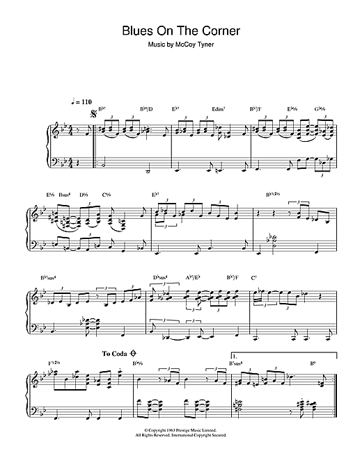 McCoy Tyner 'Blues On The Corner' Sheet Music Notes, Chords | Download  Printable Piano - SKU: 37802