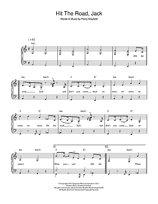 Ray Charles 'Hit The Road Jack' Sheet Music Notes, Chords | Download  Printable Easy Piano - SKU: 37887