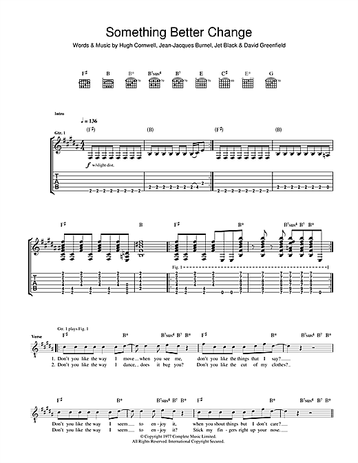 The Stranglers 'Something Better Change' Sheet Music Notes, Chords |  Download Printable Guitar Tab - SKU: 38467