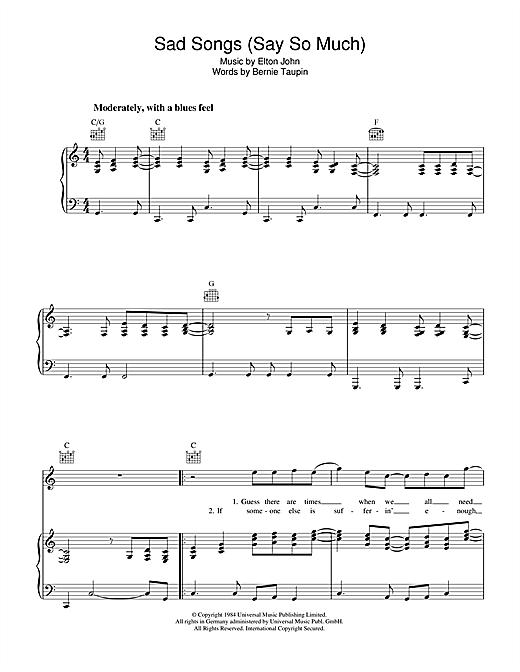 Elton John 'Sad Songs (Say So Much)' Sheet Music Notes, Chords | Download  Printable Piano, Vocal & Guitar (Right-Hand Melody) - SKU: 38515