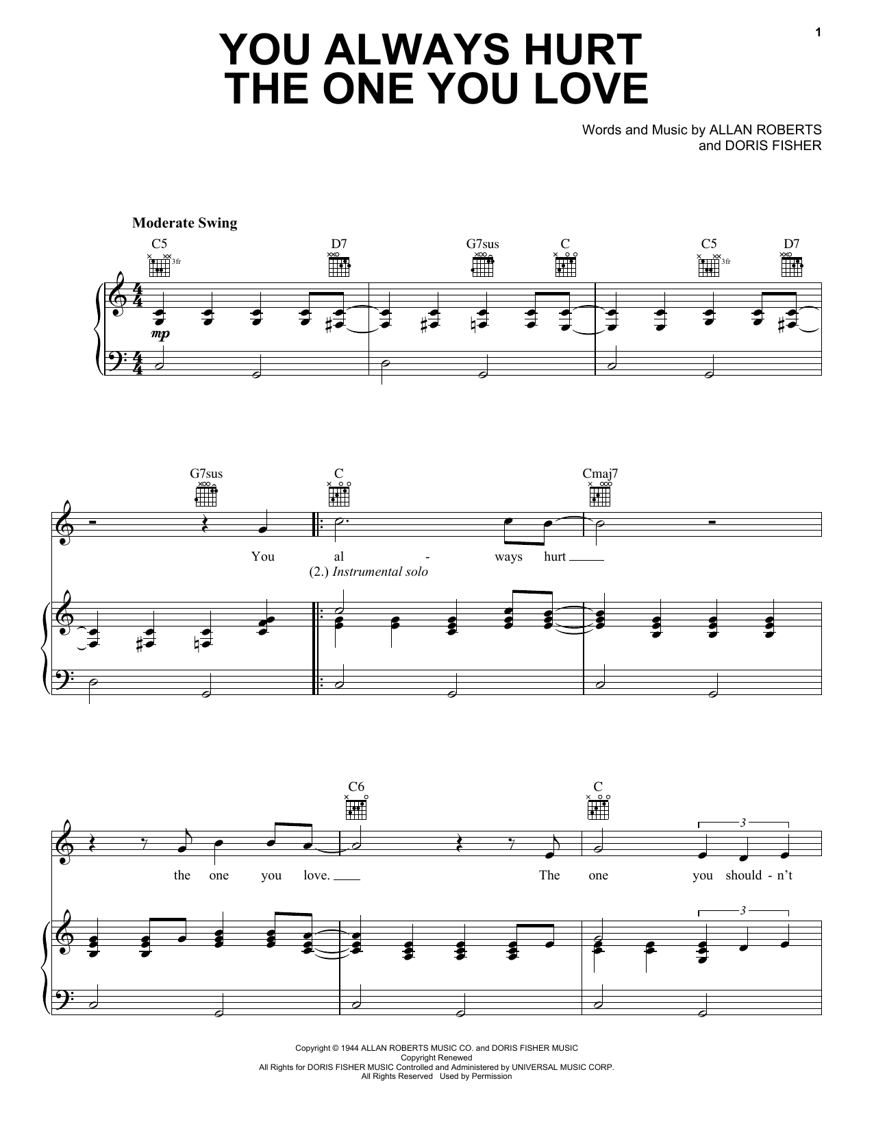 Eric Clapton 'You Always Hurt The One You Love' Sheet Music Notes, Chords |  Download Printable Piano, Vocal & Guitar (Right-Hand Melody) - SKU: 403022