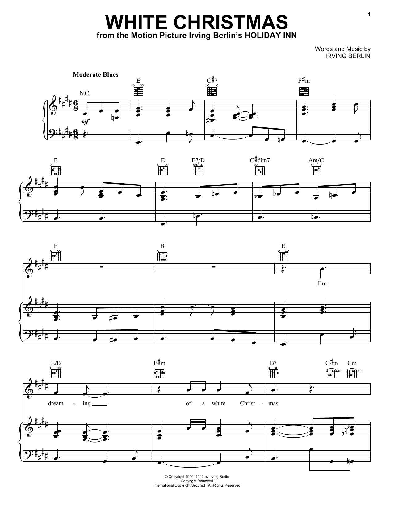 graphic regarding Free Printable Christmas Sheet Music for Piano named Eric Clapton White Xmas Sheet New music Notes, Chords Down load Printable Piano, Vocal Guitar (Directly-Hand Melody) - SKU: 403035