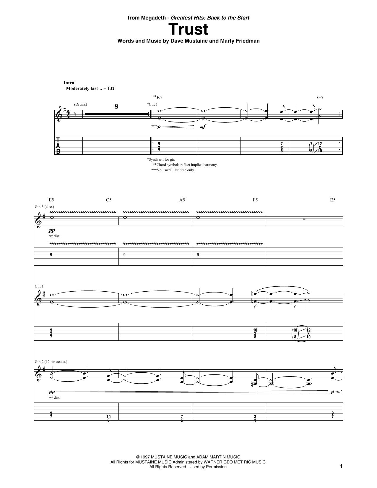 Megadeth 'Trust' Sheet Music Notes, Chords | Download Printable Guitar Tab  - SKU: 403150