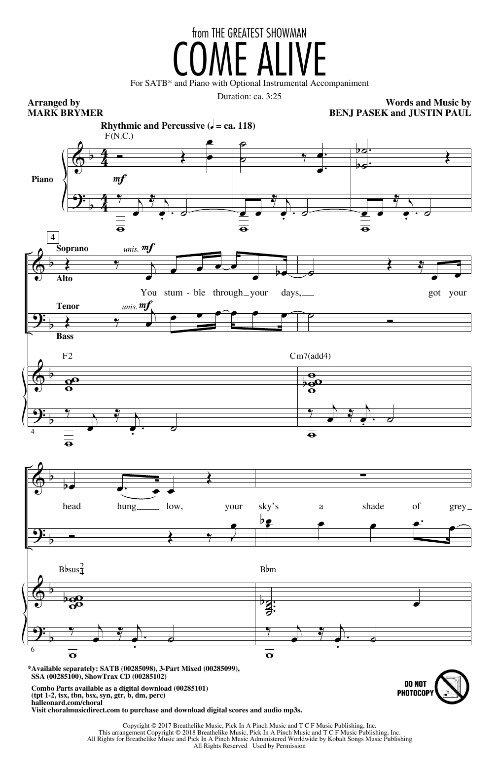 Pasek & Paul 'Come Alive (from The Greatest Showman) (Arr  Mark Brymer)'  Sheet Music Notes, Chords   Download Printable Choral - SKU: 403186