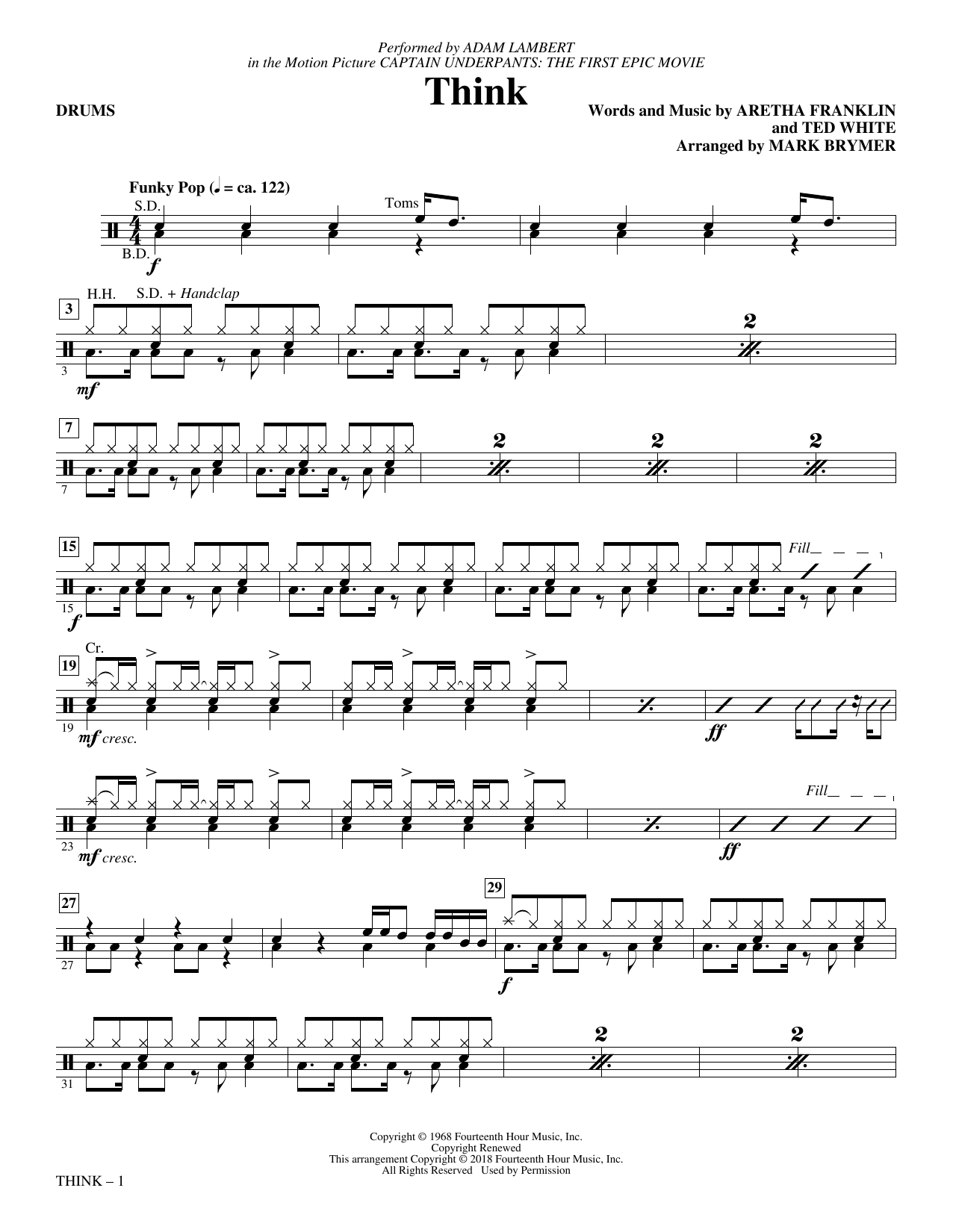 Adam Lambert 'Think (from Captain Underpants: The First Epic Movie) (Arr   Mark Brymer) - Drums' Sheet Music Notes, Chords   Download Printable Choral