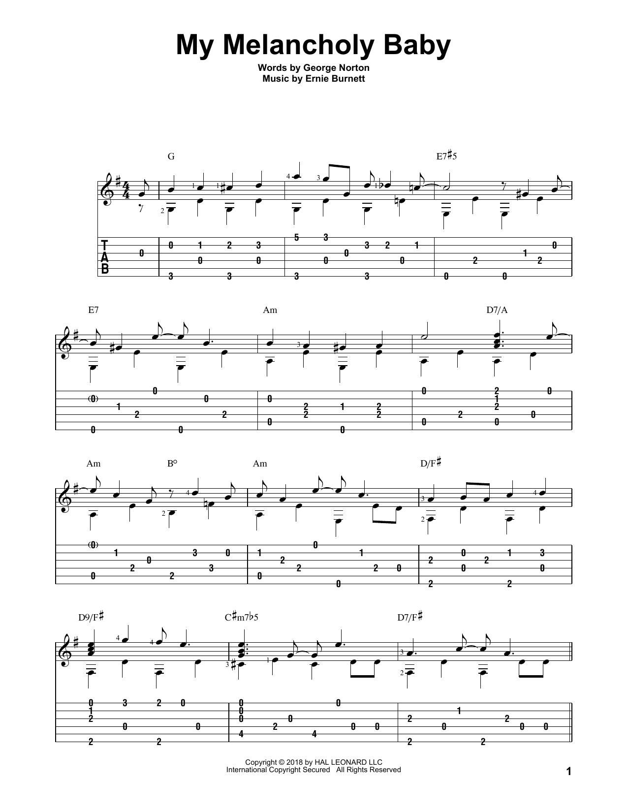 Ernie Burnett 'My Melancholy Baby' Sheet Music Notes, Chords | Download  Printable Solo Guitar - SKU: 403908