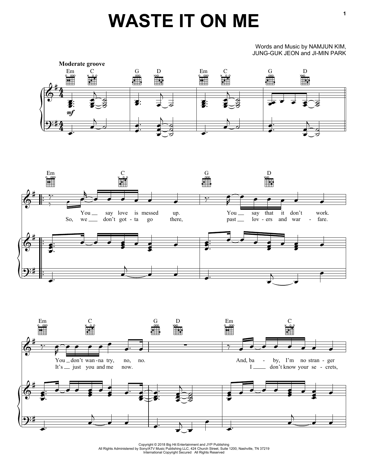 Steve Aoki 'Waste It On Me (feat  BTS)' Sheet Music Notes, Chords |  Download Printable Piano, Vocal & Guitar (Right-Hand Melody) - SKU: 403912